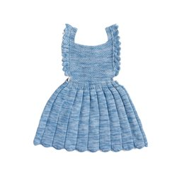 Wholesale Knitted Skirts Wholesale - Baby Girls retro knitting dress Infants croched Overalls Dresses INS HOT knitted buttoned pinafore skirt for 0-2T