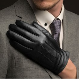 Wholesale Thin Black Leather Gloves - Wholesale- Fashion Men Touch Screen Sheepskin Gloves Wrist Solid Black Real Genuine Leather Driving Glove Plus Thin Velvet Free Shipping