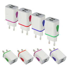 Wholesale New Home Wall Charger - 2017 new Led light dual usb ports us ac home wall charger adapter power adaptor 2.1A+1A for iphone 5 5s 6 6s for ipad iphone Samsung