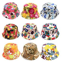 Visiere per bambini online-New Girls Floral Sun Cappelli Bambini Bambini Baby Visor Sting Brim Cappelli casuali in cotone Blending Fashion Dress Caps Regali di compleanno 30 Style WX-H06