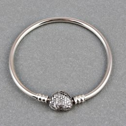Wholesale Clips For Bracelets - Wholesale- ZMZY Pave Full Cubic Zirconia 100% 925 Sterling Silver Bangle Heart Clip Clasp European Style Charm Bracelets For Women Jewelry