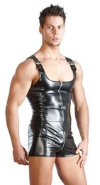 Wholesale Erotic Underwear For Men - Black Plus Size Leather Underwear for Mens Latex Clothing Men Thong Bodysuit Leotard Mens Erotic Sexy Lingerie Sleepwear