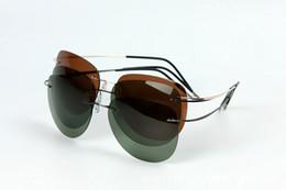 Wholesale Branded Memory - Brand Designer Ultra-light Pure Memory Titanium Rimless Sunglasses Framless Polarized Men Women Sun Glasses