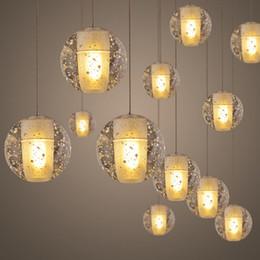 Wholesale Glass Led Shower Heads - LED Crystal Glass Ball Pendant Lamp Meteor Rain Ceiling Light Meteoric Shower Stair Bar Light Droplight Chandelier Lighting 7 14 26 36 Heads