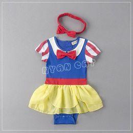 Wholesale Snow Headband - 2017 Summer New Baby Girls Bodysuits Snow White Fashion Jumpsuits Overalls +Headband Infant Clothing E12864