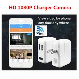 Wholesale Charger Socket Adapter - 2017 New Wireless Wifi HD 1080P Spy Cam AC Plug Charger DVR Hidden Wall Charger Camera USB Adapter Home Security Socket Camera