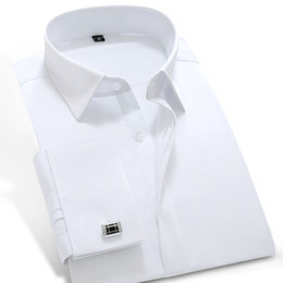 Wholesale Dress Shirts Cufflinks - Wholesale- 2016 Mens Long Sleeve White-solid Poplin Dress Shirt with French Cuffs 100% Cotton Soft Slim-fit Tuxedo Shirt(Cufflink Included)