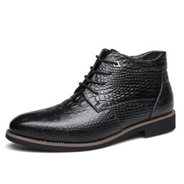 Wholesale Boots Big Sizes - 2017 New Fashion Crocodile Style Men Oxfords Fur Inside Ankle Boots Male Winter Warm Outdoor Shoes Big Size
