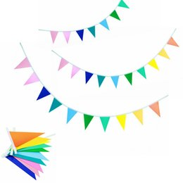 Wholesale market paper - 2m(6.5ft) Colorful Paper Flag Bunting Rainbow Flag Garland Party Bunting Birthday Party Market Stalls Bunting Party Decorations