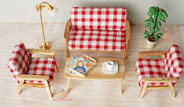 Wholesale Wholesale Dollhouse Table - Wood 4pcs Sofa Chair End Table In Red Stripe Couch Model Set For Living Room 1:12 Dollhouse Miniature Furniture