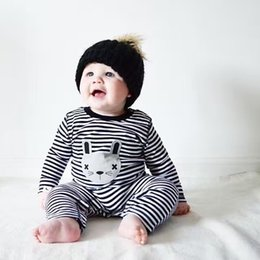 Wholesale Baby Cartoon Romper Suit - Wholesale- 2017 New baby girl & boys clothes long sleeve stripe cartoon cat infant clothing newborn toddler suit baby romper jumpsuit