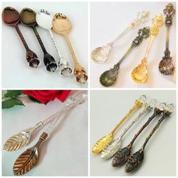 Wholesale Spoon Crystal - Retro Coffee Spoons Creative Tea Spoon Orris Crystal Head Leaf Pattern Dessert Scoop Coffee Ladle Exquisite Stir Ladles Top Quality 1 5jy4