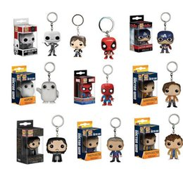 Wholesale Spiderman Toys Doll - Funko Pop Super Hero Action Figure Toys Keychain Pendant Mini Spiderman Hulk PVC dolls Keyring With Gift Box