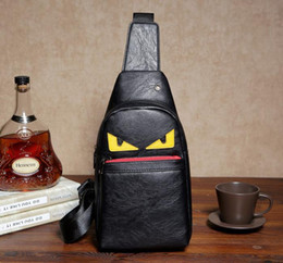Wholesale Cross Backpack - Little Monster PU Plain Backpack Simple Chest Bag travel single Cartoon shoulder PU trip journey waist bags pack Unisex useful bagpack