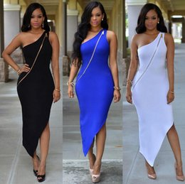 Wholesale White Long Sleeve Midi Dress - One Shoulder Big Gold Zipper Front Bodycon Party Midi Dress Women Sexy Sleeveless Cocktail Dress Bandage Skirt Nightclub Dresses OOA2955
