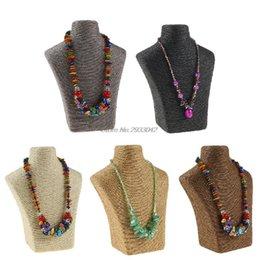 Wholesale Wood Necklace Necks - Neck Shape Jewelry Display Organizer Holder Stand Rack Necklace Show Shelf-W128