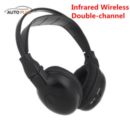 Wholesale Double Car Dvd Player - Wholesale-Hot Sale Infrared Stereo Double-channel Foldable Wireless Headphone Headset IR Car Headrest DVD Player Clear Sound