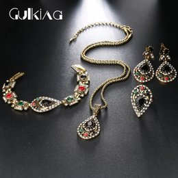 Wholesale Antique Jade Rings - Gulkina Vintage Jewelry Sets For Women Wedding Party Jewelry Antique Gold Color Bracelet Necklace Earrings Ring Sets 4PCS Sets