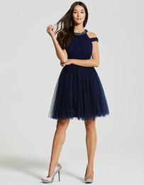 bule sexy dresses Coupons - navy bule halter off-the-shoulder Homecoming Dresses with tulle ruffle knee-length A-line formal Evening Wears simple cheap gowns