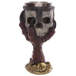 Wholesale Gothic Dragons - 4 Piece Dragons Claw Warrior Skull Gothic Goblet Gothic Spine Chalice Pagan Samhein Halloween Ornament