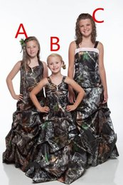 Wholesale Outside Kids - 2018 Cute Spaghetti Camo Full Real Tree Flower Girls Dresses Sweep Train Draped Skirt Satin Camouflage Outside Kids Formal Wear Party Gowns