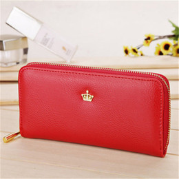 Wholesale Leather Clutch Purse Strap - Wholesale- 2017 New Women Ladies Wallets Soft Leather Wallet Crown Clutch Leather Bags Purse Popular Handbags With Strap Free Shipping J415