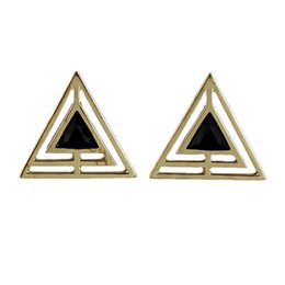 Wholesale Triangle Shaped Earrings Studs - New Arrival Black Enamel And Hollow Out Gold-Color Alloy Triangle Shape Stud Earring for Women