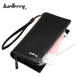 Wholesale Leather Long Billfolds - Wholesale- Brand Men's Business Casual Black Coffee Long Wallet With Zipper Male Clutch Bag Solid high-grade PU leather Purse Billfold
