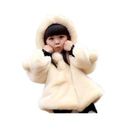 Wholesale White Winter Coats For Baby - solid thick baby girl fur coat cotton faux fur hooded coat for 1-14yrs girls children kids Winter thick warm outerwear clothes