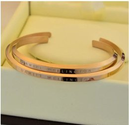 Wholesale Stainless Steel Bangle Clasp - 2017(come with original package) new DW Bracelets Cuff Rose Gold Silver Bangle 100% stainless steel Bracelet Women and Men Bracelet pulsera