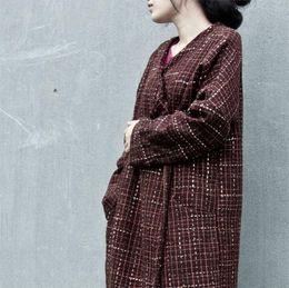 Wholesale Wool Overcoat Design Women - Original Design 2017 Winter New Women Wool Coat Long Overcoat Loose Plus Size Cardigan Long Sleeve Thickened Vintage Plaid Coat