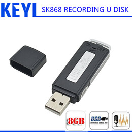 Wholesale Usb Flash Gb - Wholesale-2016 KEYI 2 in 1 Mini Draagbare Mini Opname dictafoon 8 GB USB Pen Flash Drive Disk Digital Audio Voice Recorder 70 Uur