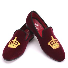 Wholesale Smoking Shoes - Embroidered Gold Crown Design Men Velvet Shoes Fashion Men Smoking Slippers male wedding and party loafers Plus Size