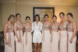 Wholesale Cheap Sheath Chiffon Wedding Dress - 2018 Elegant Custom Made Rose Gold Sequins Bridesmaid Dresses With Sash Chiffon Cheap Long Country Wedding Guest Dress Maid of Honor Gowns