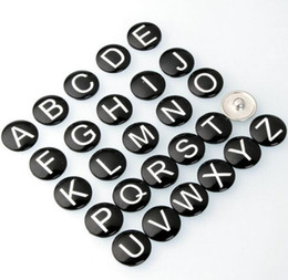 Wholesale Wholesale Metal Jewelry Initials - Hot Sale initial A-Z alphabet letter Noosa chunk metal alloy ginger snap buttons for ginger snap bracelet DIY jewelry New Hot letters