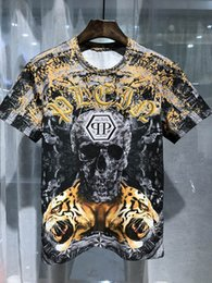 Wholesale Tiger Digital Printed T Shirts - New Arrivals 2017 Summer design Brand 3D Digital tiger printing Skull prints men T Shirt fashion Hip Hop rock T-shirt Men P20