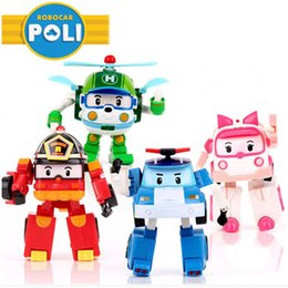 Wholesale korea babies - 4pcs Set Robocar Poli Toy Korea Robot Car Transformation Toys Poli Robocar Toys Without Box Best Gifts For Kids for baby
