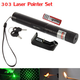 Wholesale Green Laser Charger - High Power Green Laser Pointer Pen 303 650NM Adjustable Focus Burning Match 2 in 1 Starry Laser + 18650 Battery + Charger + Safe Key