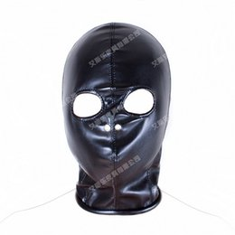 Wholesale Erotic Leather - Superior PU Leather Bondage Hood Fetish Open Nose Gag Black Mask Sex Slave Bondage Restraints Erotic Games Sex Toys for Couples