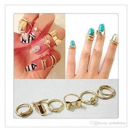 Wholesale Hearts Nail Designs - Wholesale Fashion Finger Rings 7Pcs Set Vogue Gold Skull Bowknot Heart Design Simple Nail Band Mid Finger Rings Set Nail art Ring Free DHL