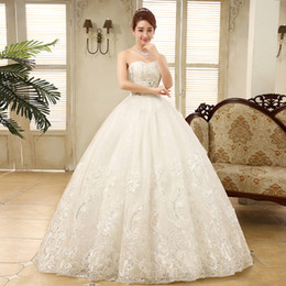 Wholesale Wedding Gowns Free Shipping - Free Shipping New Arrival Sweetheart Crystal Wedding Dresses Princess Ball Gown Tulle With Lace Up Back bryllupskjole