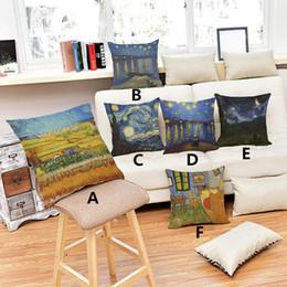 Wholesale Sunflower Cushions - 2017 Van Gogh oil printings sunflower starry night pillow cover comfortable Sofa linen cotton velvet cushion cover 45*45cm