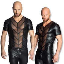 Wholesale Gimp Leather - EUROPE SEXY PVC RUBBER LATEX MENS T SHIRT EROTIC GIMP GAY VEST SUSPENDERS FETISH 6727