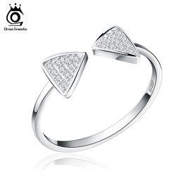 Wholesale New Finger Rings - New Arrived Genuine 925 Silver Rings CZ Paved Bow Open Adjustable Finger Rings For Women SR01