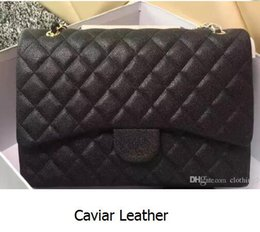 Wholesale Genuine Ostrich Leather Handbags - 33cm 58601 Luxury Classial XXL Maxi Plaid Chain Bag Caviar Leather Jumbo Double Flaps Bag Women Shoulder Bag 58601 Handbag