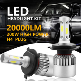 kit led blanco Rebajas 2pcs 200W 20000LM H4 HB2 9003 LED kit de la linterna Hi / Lo Power Bulbs 6500K blanco envío gratis