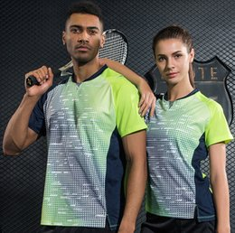 Wholesale Woman Tennis Clothes - 2017 Running Sportswear Quick Dry breathable badminton shirt,Women Men table tennis clothes team training short sleeve T Shirts