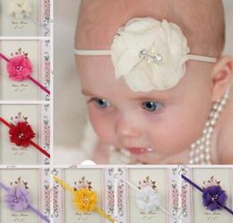 Wholesale Soft Nylon Chiffon - Hair Accessories Newborn Headband Skinny Soft Nylon Headband Satin Chiffon Flower Baby Girl Headband YH432