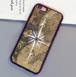 Wholesale Iphone 5c Map - Compass Wanderlust Vintage Map Printed Phone Cases For iPhone 6 6S Plus 7 7 Plus 5 5S 5C SE 4S Back Cover