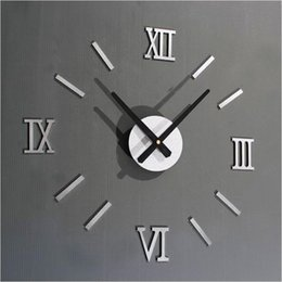 Wholesale Time Design Diy Clock - Wholesale- 2016 Home Decor Classic 3D DIY Mirror Living Modern Design Home Room Decoration Time Wall Clock Free Shipping